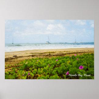 Hanalei Bay • Kauai Hawaii • Beach & Boats Scene Poster