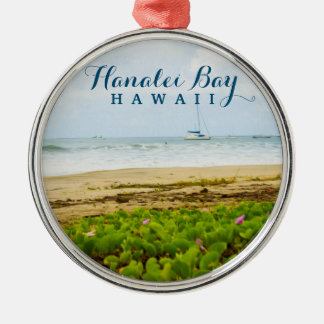 Hanalei Bay Kauai Hawaii Beach & Boats Silver-Colored Round Decoration