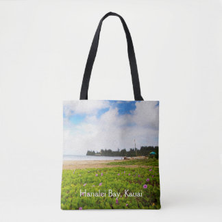 Hanalei Bay, Kauai Hawaii Beach Flower Tote Bag