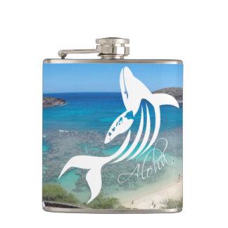 Hanauma Bay Hawaii Aloha Whale Hip Flask