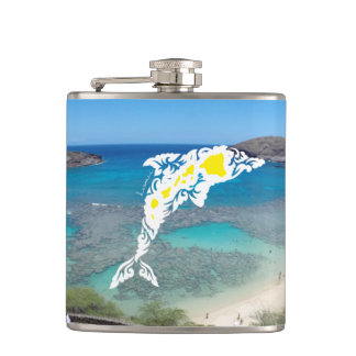 Hanauma Bay Hawaii Dolphin Hip Flask