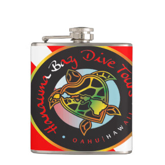 Hanauma Bay Hawaii Scuba Dive Flag and Turtle Hip Flask