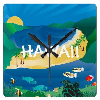 Hanauma Bay Hawaii Square Wall Clock