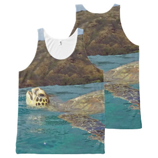 Hanauma Bay Hawaii Turtle All-Over Print Singlet