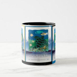 Hanauma Bay - Oahu Turtle Two-Tone Coffee Mug