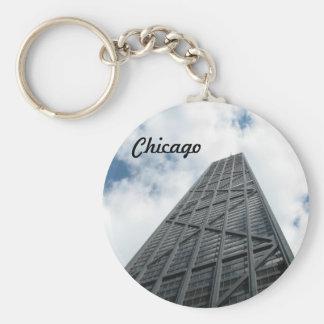 Hancock Building - Chicago Basic Round Button Key Ring