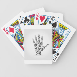 Hand a bird bicycle playing cards