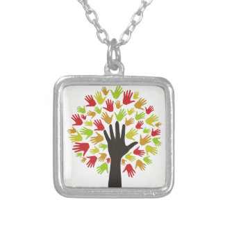Hand a tree2 silver plated necklace