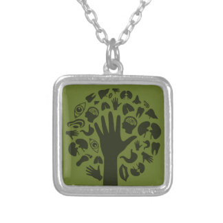 Hand a tree3 silver plated necklace