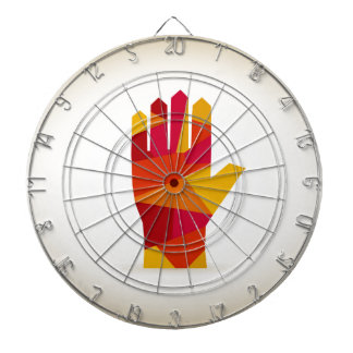 Hand abstraction dartboard with darts