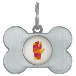 Hand abstraction pet tag