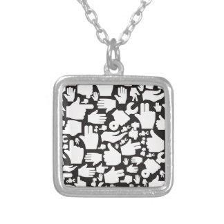 Hand background2 silver plated necklace