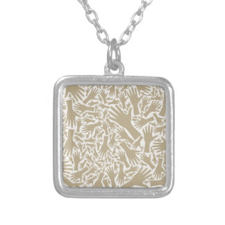 Hand background silver plated necklace