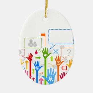 Hand business ceramic ornament