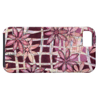 Hand Carved Flowers Burgundy iPhone 5 Covers