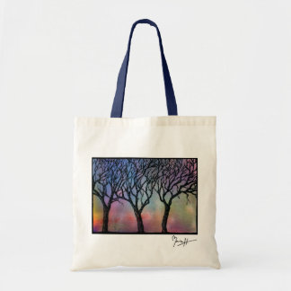 Hand Carved Trees on Blue and Pink Watercolor