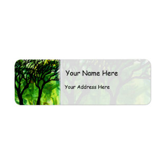 Hand Carved Trees on Green Marbling Return Address Label