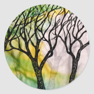 Hand Carved Trees on Rice Paper Classic Round Sticker