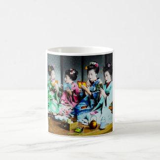 Hand Colored Vintage Geisha Gathering Coffee Mug