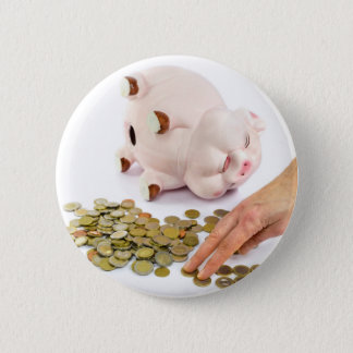 Hand counting euro coins from piggy bank 6 cm round badge