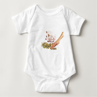 Hand counting euro coins from piggy bank baby bodysuit