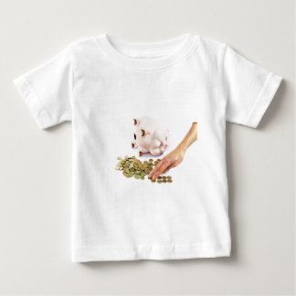 Hand counting euro coins from piggy bank baby T-Shirt