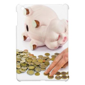 Hand counting euro coins from piggy bank iPad mini cases