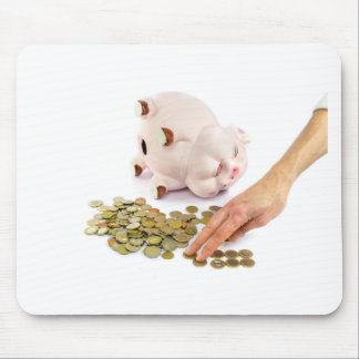 Hand counting euro coins from piggy bank mouse pad