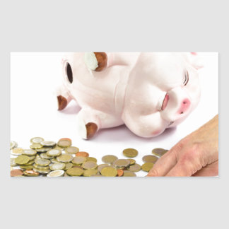 Hand counting euro coins from piggy bank rectangular sticker