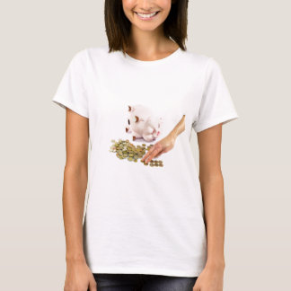 Hand counting euro coins from piggy bank T-Shirt