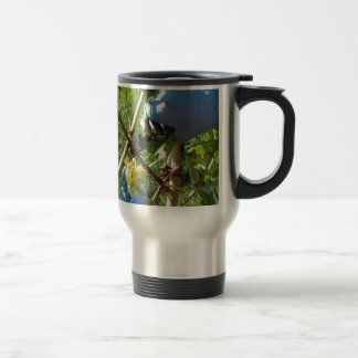 Hand cutting white grapes, harvest time travel mug