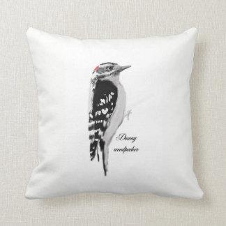 Hand dawn downy woodpecker cushion