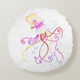 Hand Designed Jellyfish Round Throw Pillow