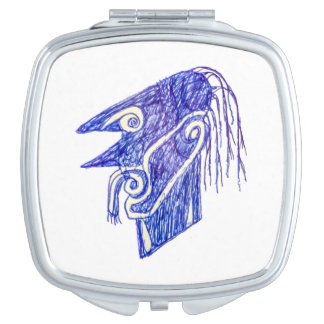 Hand Draw Monster Portrait Ilustration Compact Mirror