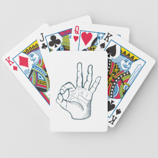Hand draw sketch vintage okay hand sign bicycle playing cards