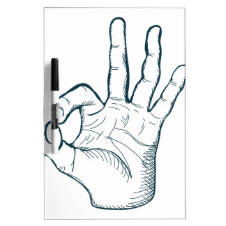 Hand draw sketch vintage okay hand sign dry erase boards