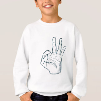 Hand draw sketch vintage okay hand sign sweatshirt