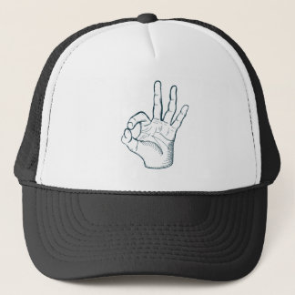 Hand draw sketch vintage okay hand sign trucker hat