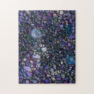 Hand-Drawn Abstract Circles, Blue, Purple, Black Jigsaw Puzzle