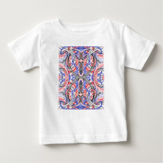 Hand Drawn Abstract Red White Blue Line Art Doodle Baby T-Shirt