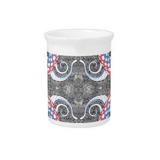 Hand Drawn Abstract Red White Blue Line Art Doodle Pitcher