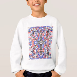 Hand Drawn Abstract Red White Blue Line Art Doodle Sweatshirt