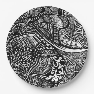 Hand-drawn Abstract Tribal Crazy Doodle 9 Inch Paper Plate