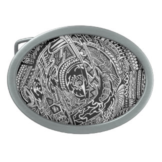 Hand-drawn Abstract Tribal Crazy Doodle Oval Belt Buckle