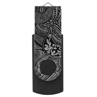 Hand-drawn Abstract Tribal Crazy Doodle Swivel USB 3.0 Flash Drive