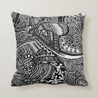 Hand-drawn Abstract Tribal Crazy Doodle Throw Cushions