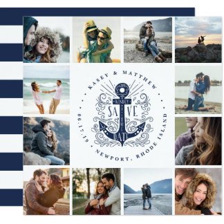 Hand Drawn Anchor | Photo Collage Save the Date Card