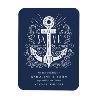 Hand Drawn Anchor Save the Date Magnet