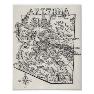 Hand Drawn Arizona Map | Poster
