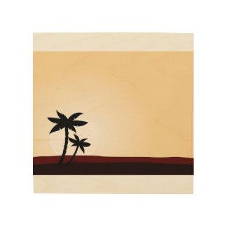 Hand drawn Art on wood : Palms Wood Print